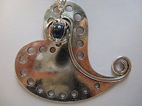 Natural mente – Pendentif Coeur + 1 pierre Chakra, pendentif pour collier, amulette, coeur, bande plastique incluse, pierres précieuses, n ° 174