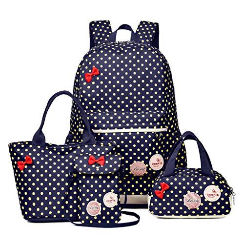 Girls 4 Pieces Canvas School Backpack Set Patterned Bookbag Laptop School Backpack (dark blue (4 set))