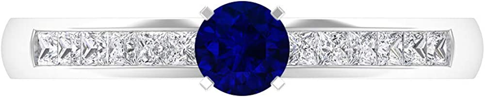 4.00 MM Round Cut Lab Created HI-SI Ring Diamond Ranking TOP4 Award Blue Sapphire