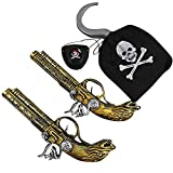 Accesorios de Disfraces de Piratas para Adultos y niños Carnaval, Cosplay y Halloween - un tamaño (2X Pistolas + 1x Gancho Pirata + 1x Parche Ocular)