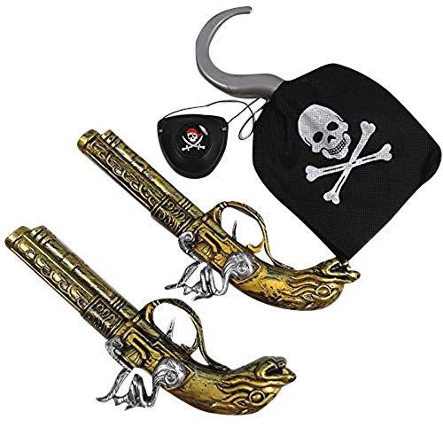 Accesorios de Disfraces de Piratas para Adultos y nios Carnaval, Cosplay y Halloween - un tamao (2X Pistolas + 1x Gancho Pirata + 1x Parche Ocular)