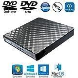 Portable External DVD CD Player Burner USB 3.0 Optical Drive for Lenovo HP Dell Samsung Acer Asus Sony Toshiba Clevo MSI Ultrabook Gaming Laptops, 8X DVD+-R DL DVD-RAM CD-RW Writer, New in Box Black