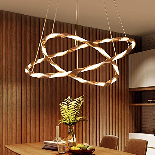 MRXUE LED Pendant Lamp Living Dining Room Brown 2 Ringe Pendant Light Dimmable mit Fernbedienung Chandelier Innenbeleuchtung Ø 40+60CM 50W
