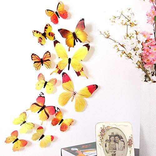 Zbzmm 12 delen/Los 3D vlinder decor voor Nieuwjaar party woonkamer slaapkamer leuke vlinders koelkast sticker kunst wandafbeeldingen wand poster @ 1005