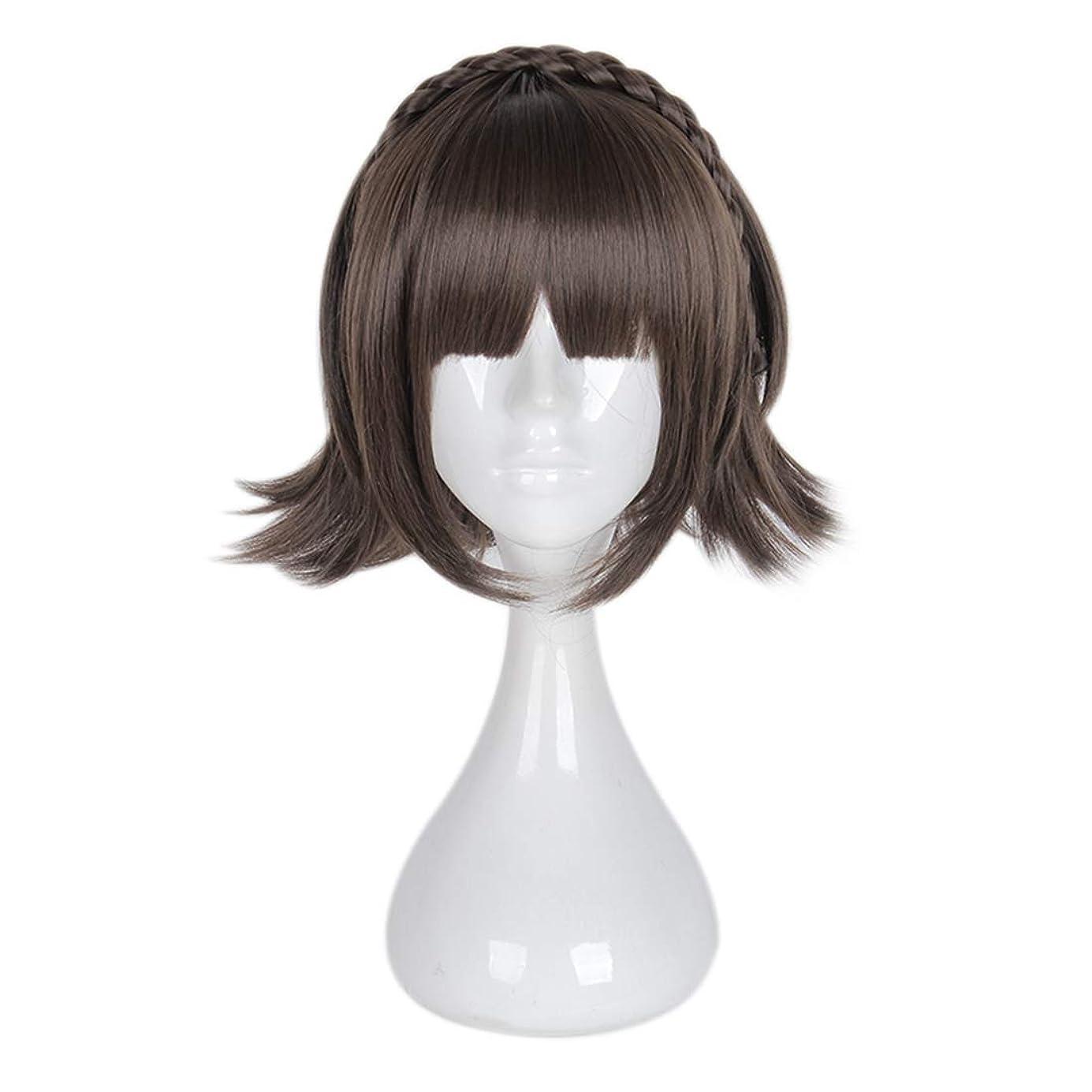 ペーストコイン見えるJIANFU 少女チー劉ハイファツイストショートヘアコスプレウィッグスーパーかわいいアンチワーピングヘア (Color : ブラウン)