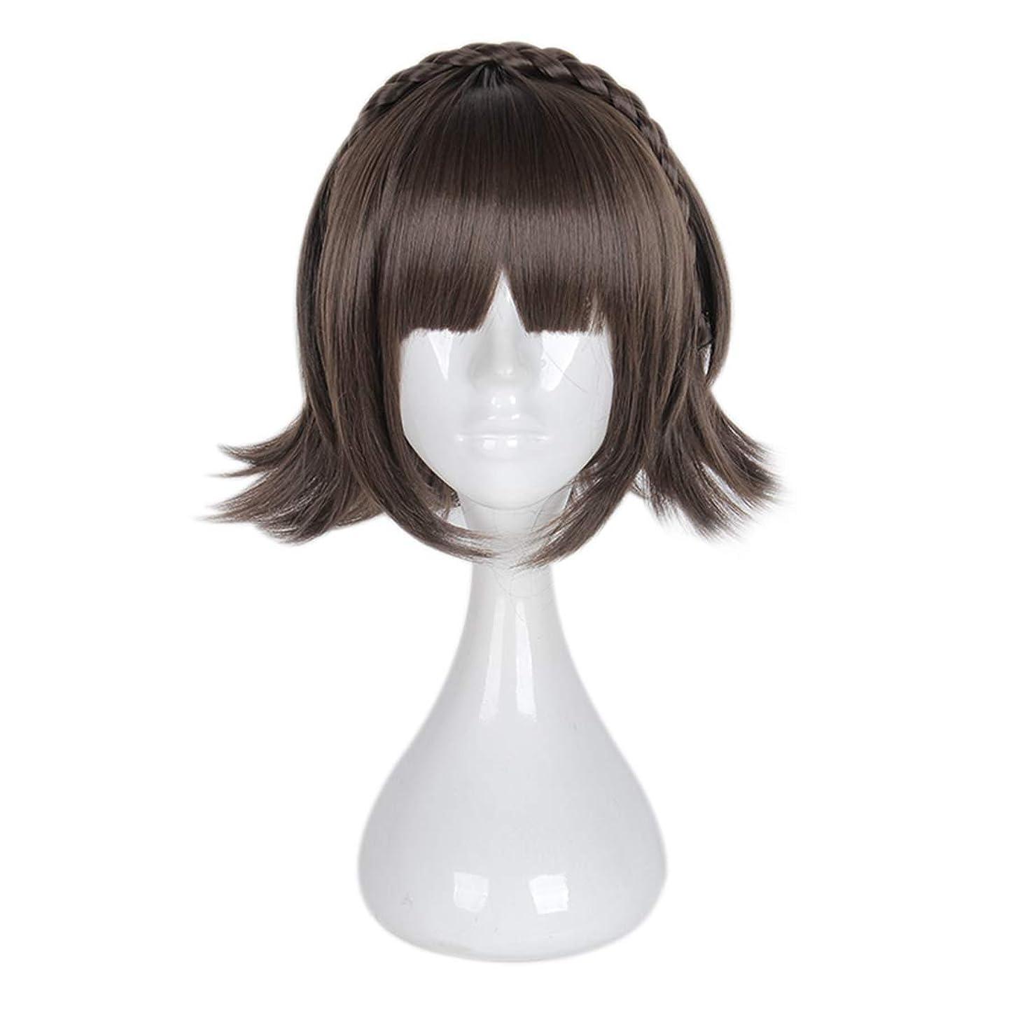 傷つきやすい鮮やかな燃料Koloeplf 少女チー劉ハイファツイストショートヘアコスプレウィッグスーパーかわいいアンチワーピングヘア (Color : ブラウン)