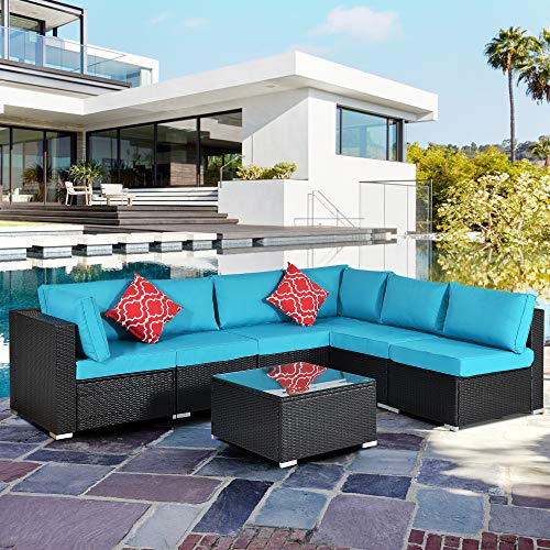 Bellemave 7 Pieces of Garden Furniture, PE Rattan Wicker All-Weather Sofa, Outdoor Modular Furniture with Glass Coffee Table, Cushions and Two Pillows (Blue)
