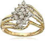 Jewelili 10K Yellow Gold 1/2 Cttw Natural White Round and Baguette Diamond Cluster Ring, Size 8