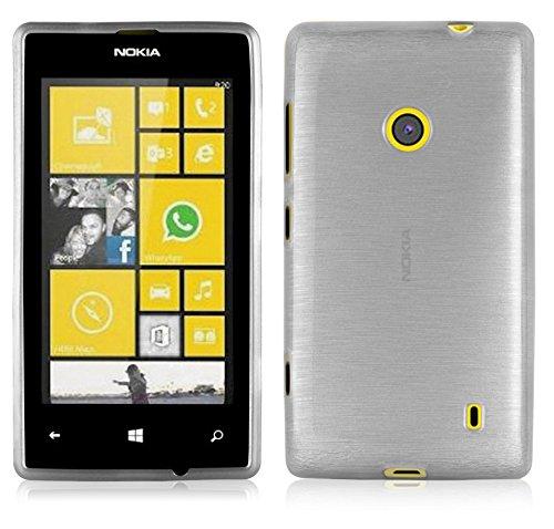 Cadorabo Custodia per Nokia Lumia 520 in Argento - Morbida Cover Protettiva Sottile di Silicone TPU con Bordo Protezione - Ultra Slim Case Antiurto Gel Back Bumper Guscio