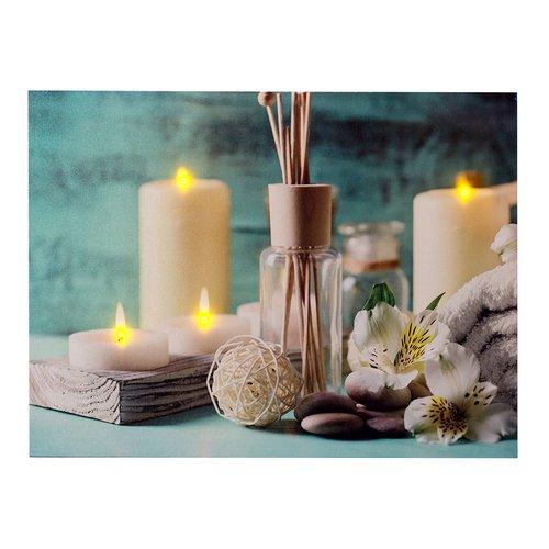 dekoratives LED Bild, Leinwandbild - Wellness/Spa, AN/Aus-Schalter, batteriebetrieben