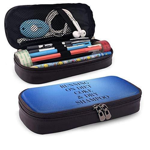 IUBBKI Running On Diet Cola und Dry Shampoo Leather Pencil Case Multifunktions-Kosmetik-Make-up-Tasche für Student Boys Girl Erwachsene