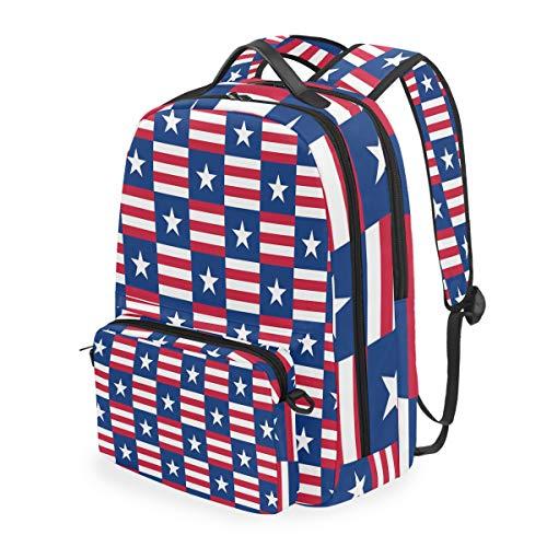 Mochila Mochila Mochila Bolsa de Hombro Estrella de EE. UU. Blanco Bandera Azul Raya roja Patriótico Multifunción Casual de Negocios