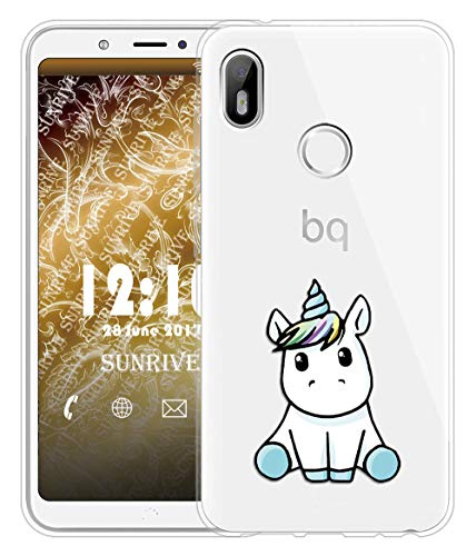 Sunrive Für BQ Aquaris C Hülle Silikon, Transparent Handyhülle Schutzhülle Etui Hülle für BQ Aquaris C(TPU Einhorn 3)+Gratis Universal Eingabestift