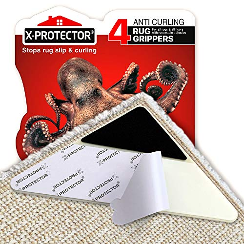 X-Protector Rug Grippers Best 4 pcs Anti Curling Rug Gripper - Keeps Your Rug in Place & Makes Corners Flat -Triangle Carpet Gripper with Renewable Carpet Tape – Ideal Non Slip Rug Pad for Your Rug!
