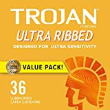 3. TROJAN Ultra Ribbed Premium Lubricated Condoms - 36 Count