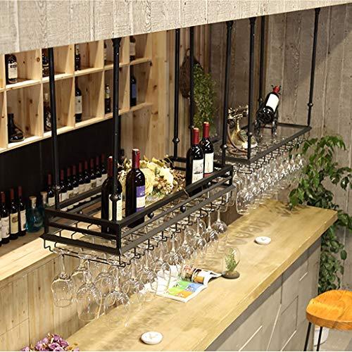 Tianboy_plate Industriell vintage vinhylla, flytande hyllor takglashållare, kreativ köksinredning förvaring displayhållare (längd 80/100 cm x bredd 35 cm)