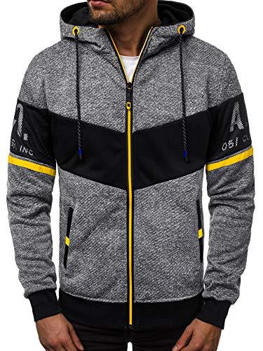 OZONEE Herren Sweatshirt Pullover Aufdruck Print Modern Täglichen Streetwear Sport Sportswear Langarmshirt Kapuzenpullover Sweatjacke Sportjacke JS/DD755 DUNKELGRAU M