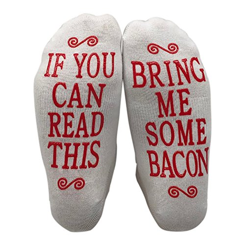 If You Can Read This Bring Me Some Bacon Gift Socks - Perfect Hostess or Housewarming Gift Idea, Birthday Present, or Mother's Day Gift for a Bacon Lover