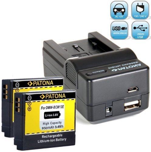 PATONA (2X) Ersatz für Akku Panasonic DMW BCM13 E - Ladegerät 4in1 - Lumix DMC TZ71 TZ61 TZ58 TZ56 FT5 DC FT7 EG etc NEUHEIT mit Micro USB-Eingang