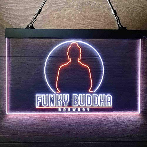 zusme Funky Buddha Brewery Colorful LED Neon Sign Man Cave Light White & Orange W24 x H16