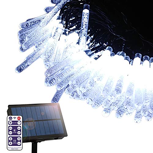 電光ホーム ソーラー LED イルミネーション ストレート つらら型 ライト [ 8パターン 点灯 / 15m 100球 / リモコン付属 ] 屋外 防水 防雨 ガーデン DIY (ホワイト)