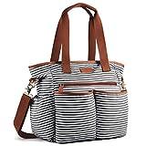 Plambag Canvas PU Baby Wickeltasche Mama Shopper Tasche mit Wickelunterlage