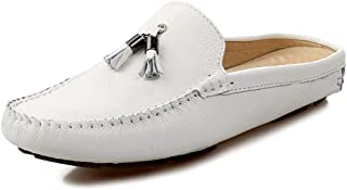 LFSP Mens Penny Loafers Boat Shoes Driving Loafer for Men Boat Moccasins Slip On Style OX Leather Pendant Tassel Convenience Half Dragged A (Color : White, Size : 44 EU)
