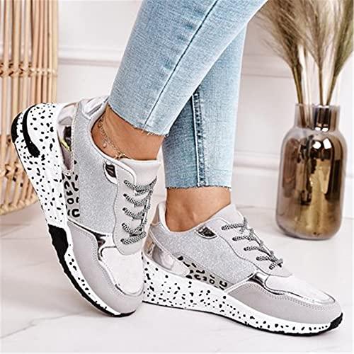Primavera con cordones de plataforma de deportes zapatos para las mujeres transpirable señoras sneakers leopardo impresión imitación piel zapatillas casual zapatos plata 35