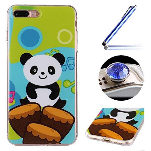 Etsue Doux Protecteur Coque pour iPhone 7 Plus,TPU Matériau Frame est Transparent Soft Cover pour iPhone 7 Plus,Coloré Motif par Dessin de Mode Case Coque pour iPhone 7 Plus + 1 x Bleu stylet + 1 x Bling poussière plug (couleurs aléatoires)- Panda Cartoon