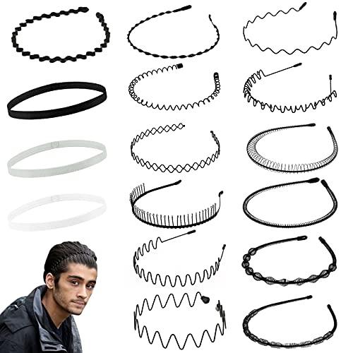 Diademas de metal de 16 piezas para hombres y mujeres, bandas para el cabello elásticas antide...