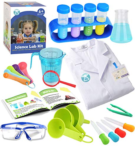 UNGLINGA Kids Science Experiment Kit with Lab Coat Scientist Costume Dress Up and Role Play Toys Gift for Boys Girls Kids Age 5 - 11 Christmas Birthday Party