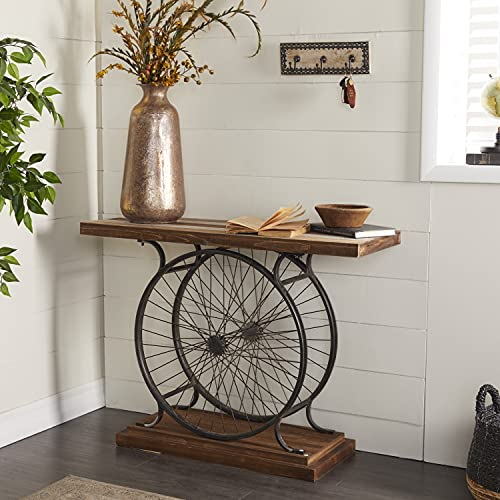 """Deco 79 Metal and Wood Wheel Console, Brown/Black, 14""""D x 38""""W x 28""""H"""