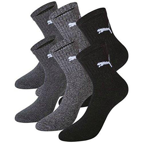 PUMA Unisex Short Crew Socks Socken Sportsocken MIT FROTTEESOHLE 6er Pack, Größe:43-46;Pack:6er Pack/Paar;Farbe:anthracite-grey / anthracite-grey (207/207)