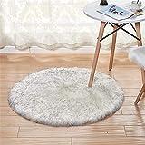Qishi - Alfombra de piel de oveja de piel sintética redonda y esponjosa para asiento de salón, dormitorio, sofá y silla