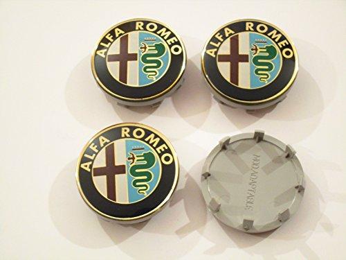 4 COPRIMOZZO ALFA ROMEO borchie fregi MITO 156 GT 147 145 50mm per cerchi in lega