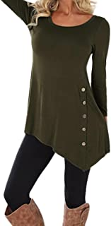 TOPUNDER Women Long Sleeve Loose Button Trim Blouse Solid Color Round Neck Tunic T-Shirt by