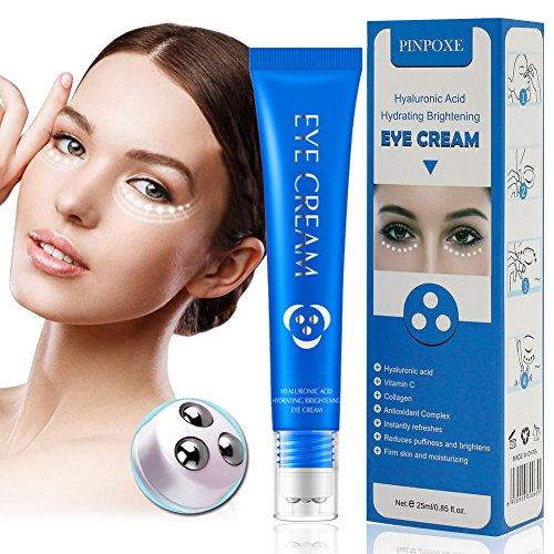 Antialterung Augencreme, Augen Roll on, Augenserum, Anti-Aging Augenfaltencreme mit Hyaluronsäure und Vitamin C, Behandlung für dunkle Augenringe, Schwellungen und Fältchen