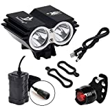 Nestling 5000Lm Bike Lights Cree X2 LED Mount Bicycle Lights Headlight Flashlight Rechargeable 4x18650 Battery...