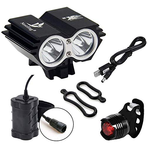 Nestling 5000Lm Bike Lights Cree X2 LED Mount Bicycle Lights Headlight Flashlight Rechargeable 4x18650 Battery Pack and Rear Ligh