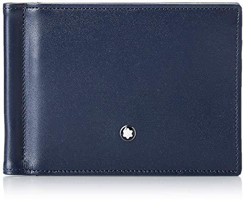 Montblanc Meisterstück Brieftasche 6 cc mit Geldclip klein Münzbörse, 11 cm, Marineblau