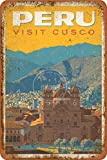 Peru Visit CUACO Tin/Metal Style Street Poster Sign Garage