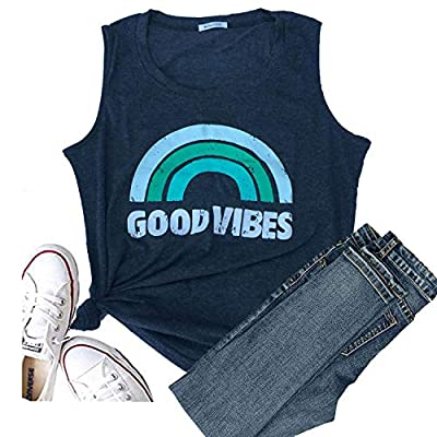 Hellopopgo Womens Good Vibes Shirt Short Sleeve Graphic Tees Rainbow Print Funny T Shirts Summer Tops V-Neck