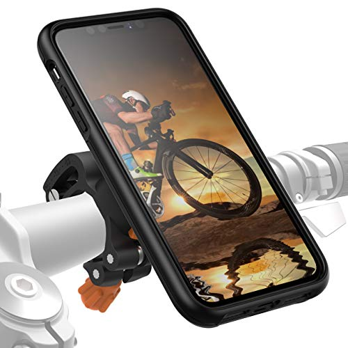 MORPHEUS LABS M4s iPhone 8 Bike Mount, Phone Holder & iPhone 8 Case, Bicycle Cell Phone Holder, Adjustable, fits Most Bike Handlebars, 360 Rotation, Bike Kit for iPhone 8/7 (not Plus) [Grey]