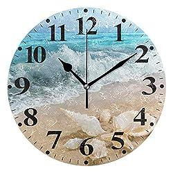 susiyo Seashells On Sandy Beach Shore Printed Round Wall Clock Silent Non Ticking Quartz Battery Operated Analog Modern Decor Clock for Bedroom Living Room Kitchen Desk Farmhouse-9.8inch