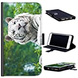 Hairyworm - White tiger LG G4c leather side flip wallet