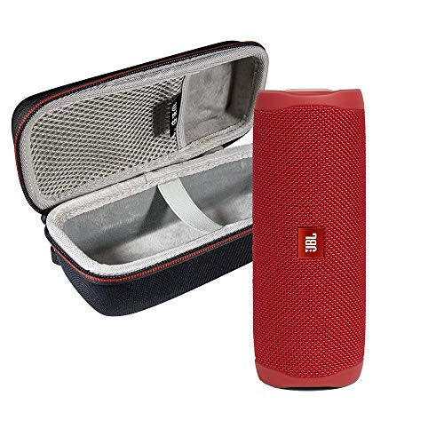JBL FLIP 5 Portable Speaker IPX7 Waterproof On-The-Go Bundle with WRP Deluxe Hardshell Case (Red)
