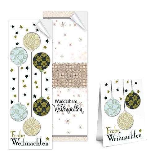 SET 2 x 25 lange Weihnachtsaufkleber shabby chic Aufkleber Frohe Weihnachten Weihnachtskugeln + Wunderbare Geschenkaufkleber Sticker Verpackung weihnachtlich