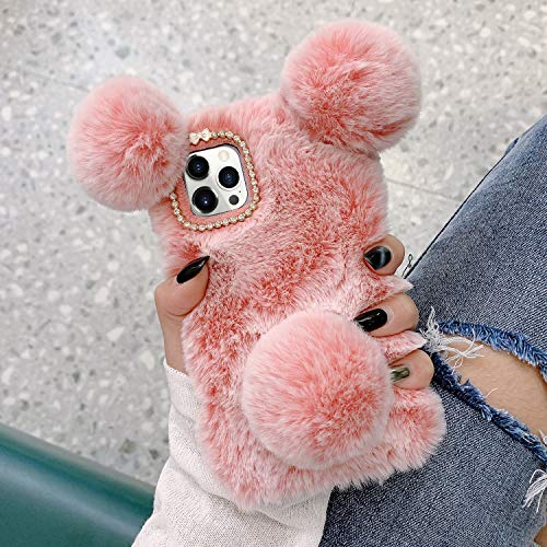 LUVI for iPhone 12 Pro Max Plush Furry Case Fuzzy Fluffy Ball Rabbit Fur Hair Cute Cartoon Bear Ear with Bling Glitter 3D Diamond Bowknot Camera Protection Cover for iPhone 12 Pro Max 6.7 inch Pink