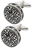 COLLAR AND CUFFS LONDON - Premium Cufflinks with Gift Box - Antique-Style Celtic Design - Brass - Round Cross Design - 20mm Diameter - Silver and Black Colors