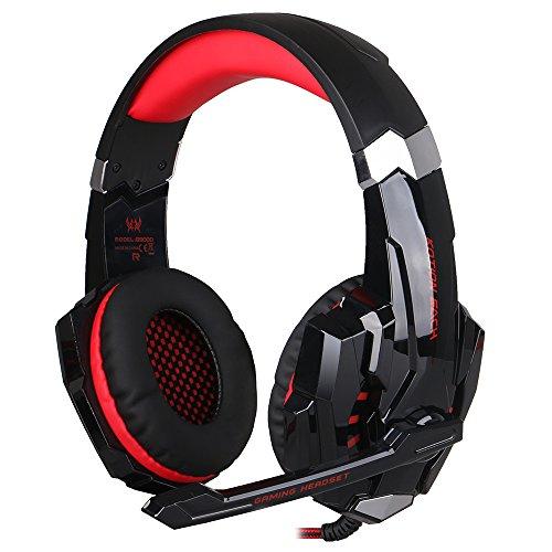 EasySMX Auriculares con Mic, Gaming Auriculares Estéreo de Diadema para PC, PS4, Xbox One, Mac y Móvil Laptop con Luz LED y Cancelación de Ruido (Nergro+Rojo)